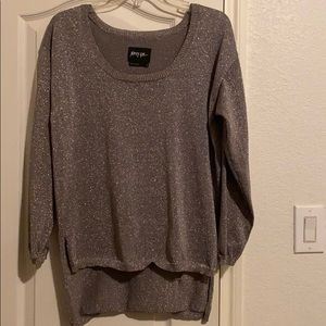 Nasty Gal high low silver / gray shimmery sweater